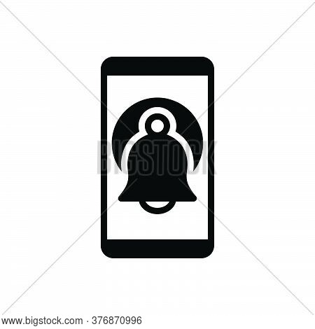Black Solid Icon For Reminder Electronic Gadget Wireless App Technology Notifications Message Remind