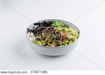 Unagi Poke Bowl With Green Beans Vegetables And Nori