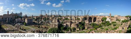 Panorama Of The Ancient Roman Forums, An Archeological Park With Ancient Temples Of The Roman Empire
