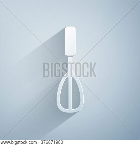 Paper Cut Kitchen Whisk Icon Isolated On Grey Background. Cooking Utensil, Egg Beater. Cutlery Sign.