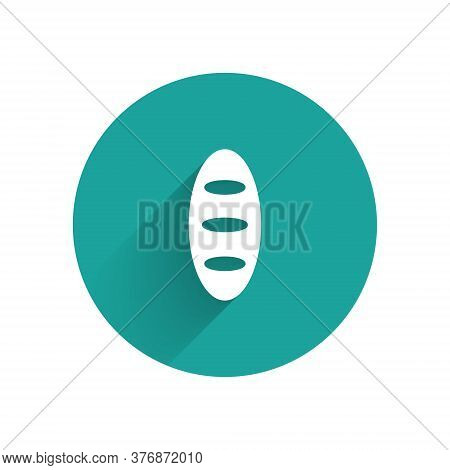 White Bread Loaf Icon Isolated With Long Shadow. Green Circle Button. Vector