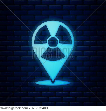 Glowing Neon Radioactive In Location Icon Isolated On Brick Wall Background. Radioactive Toxic Symbo