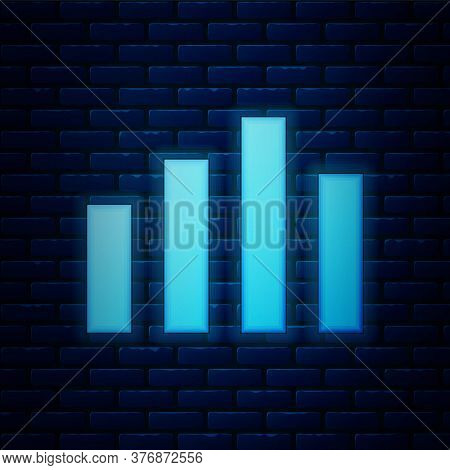Glowing Neon Music Equalizer Icon Isolated On Brick Wall Background. Sound Wave. Audio Digital Equal