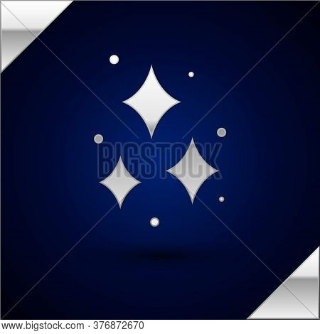 Silver Firework Icon Isolated On Dark Blue Background. Concept Of Fun Party. Explosive Pyrotechnic S