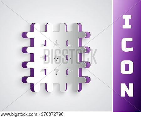 Paper Cut Cracker Biscuit Icon Isolated On Grey Background. Sweet Cookie. Paper Art Style. Vector