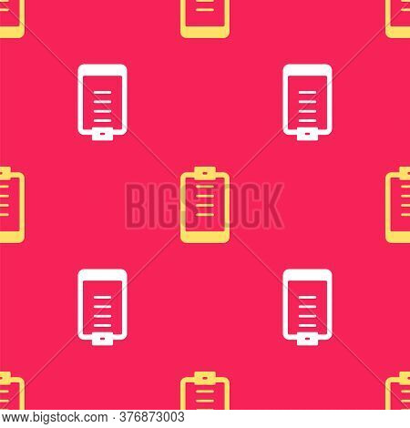 Yellow Clipboard With Checklist Icon Isolated Seamless Pattern On Red Background. Control List Symbo