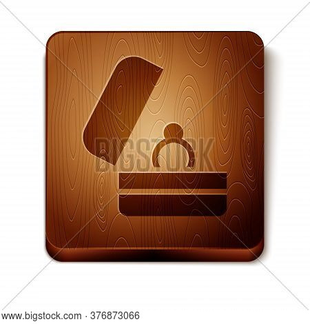 Brown Wedding Rings Icon Isolated On White Background. Bride And Groom Jewelry Sign. Marriage Symbol