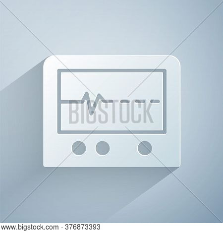 Paper Cut Beat Dead In Monitor Icon Isolated On Grey Background. Ecg Showing Death. Paper Art Style.