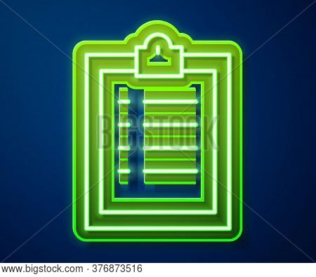 Glowing Neon Line Clipboard With Checklist Icon Isolated On Blue Background. Control List Symbol. Su
