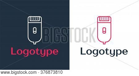 Logotype Line Electrical Hair Clipper Or Shaver Icon Isolated On White Background. Barbershop Symbol