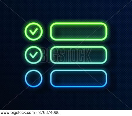 Glowing Neon Line Task List Icon Isolated On Blue Background. Control List Symbol. Survey Poll Or Qu
