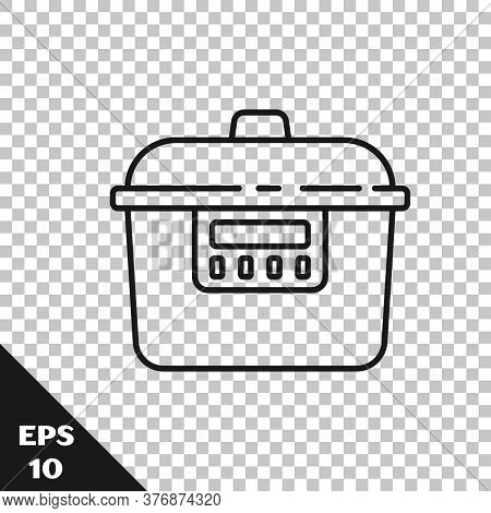 Black Line Slow Cooker Icon Isolated On Transparent Background. Electric Pan. Vector