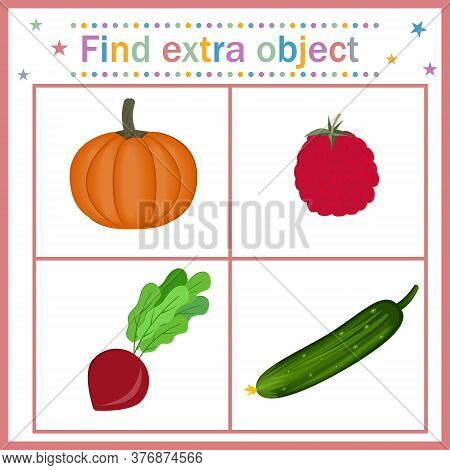 Map For Children's Development, Find An Extra Object Where The Cucumber Is Long And The Rest Is Roun