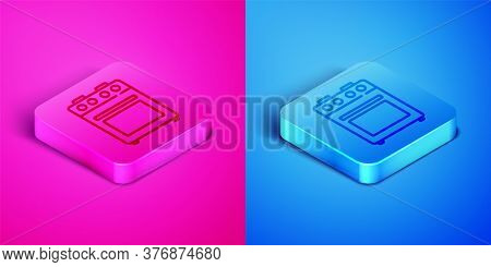 Isometric Line Oven Icon Isolated On Pink And Blue Background. Stove Gas Oven Sign. Square Button. V