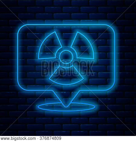 Glowing Neon Line Radioactive In Location Icon Isolated On Brick Wall Background. Radioactive Toxic