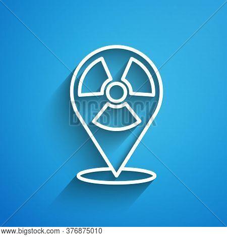 White Line Radioactive In Location Icon Isolated On Blue Background. Radioactive Toxic Symbol. Radia