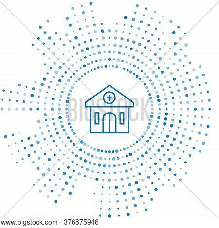 Blue Line Church Building Icon Isolated On White Background. Christian Church. Religion Of Church. A