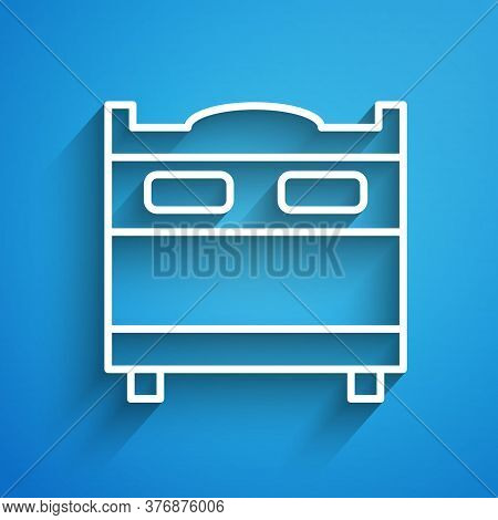 White Line Bedroom Icon Isolated On Blue Background. Wedding, Love, Marriage Symbol. Bedroom Creativ