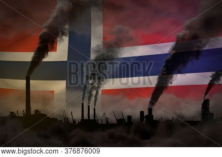 Dark Pollution, Fight Against Climate Change Concept - Factory Chimneys Heavy Smoke On Norway Flag B