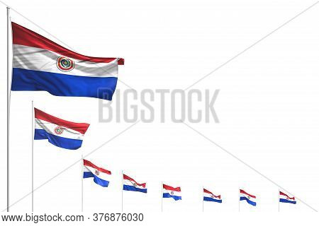 Wonderful Anthem Day Flag 3d Illustration  - Many Paraguay Flags Placed Diagonal Isolated On White W