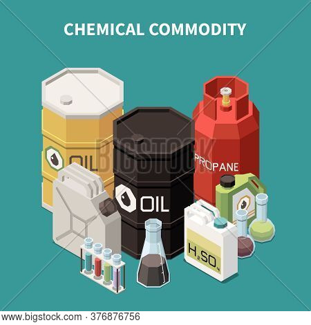 Commodity Isometric Composition With Colourful Images Of Oil And Gas Tanks Canisters Vials And Glass