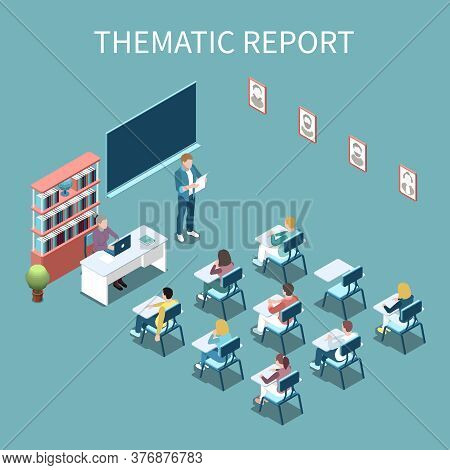 University Student Making Thematic Report In Front Of Class Isometric Composition 3d Vector Illustra