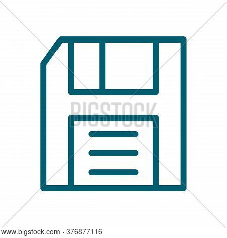 Save Vector Icon. Outline Diskette Symbol Creative Concept. Line Art Floppy Disk Pictogram. Thin Sav
