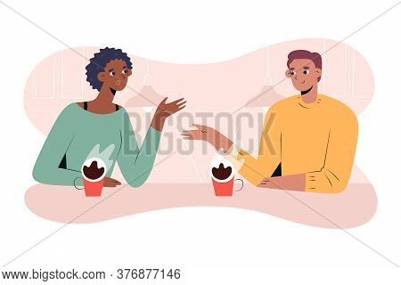 Interracial Couple Having Coffee Together In Cafe Or Coffee Shop, African Girlfriend And White Boyfr