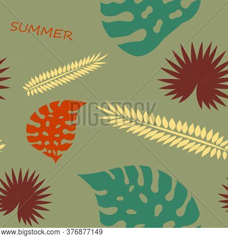 Exotic Tropical Verctor Background With Hawaiian Plants. Seamless Tropical Pattern With Summer Lette