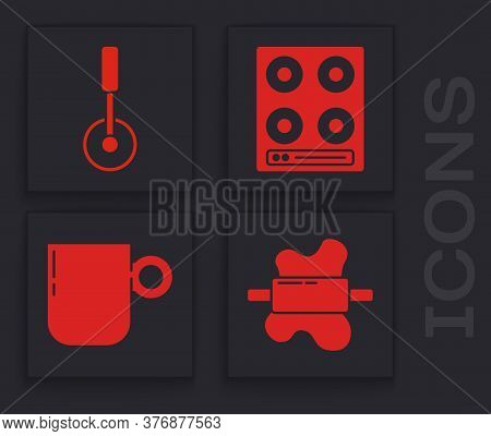 Set Rolling Pin On Dough, Pizza Knife, Gas Stove And Coffee Cup Icon. Vector