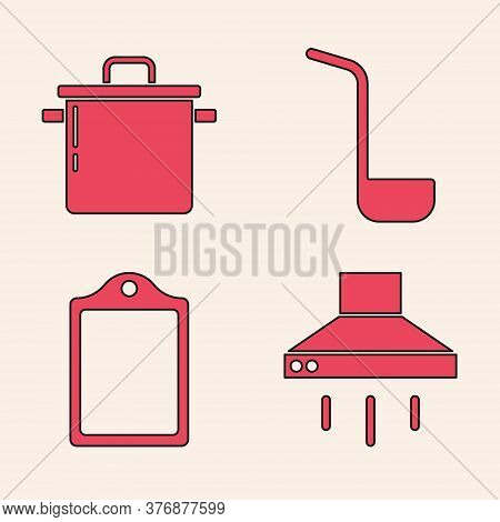 Set Kitchen Extractor Fan, Cooking Pot, Kitchen Ladle And Cutting Board Icon. Vector