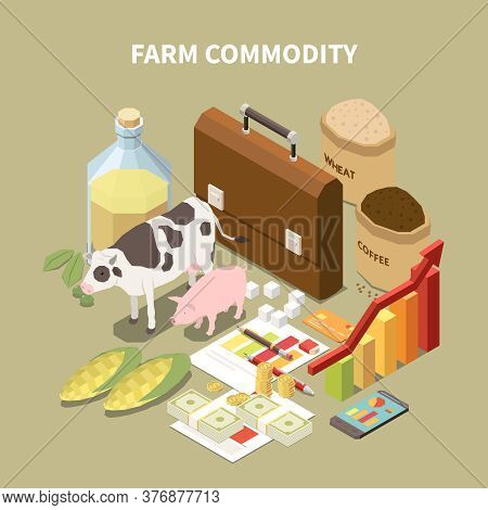 Commodity Isometric Composition With Conceptual Images Of Farming Related Items Animals And Infograp
