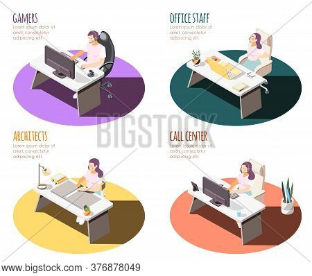 Sedentary Lifestyle Isometric 4x1 Set Of Compositions With Working Place Spots Tables And People Wit