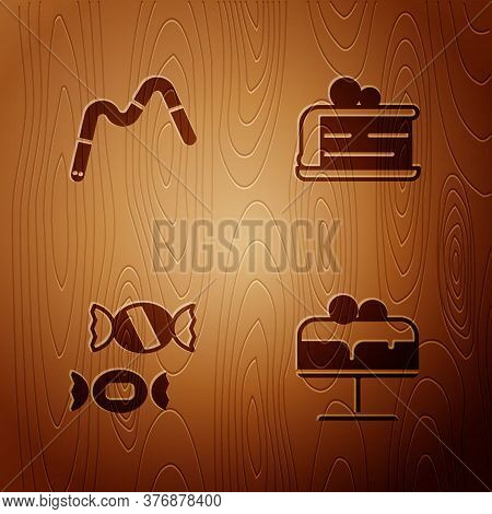 Set Cake On Plate, Jelly Worms Candy, Candy And Piece Of Cake On Wooden Background. Vector