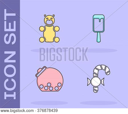 Set Christmas Candy Cane, Jelly Bear, Glass Jar With Candies Inside And Ice Cream Icon. Vector