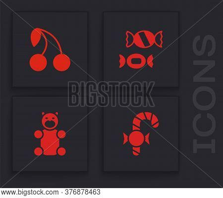Set Christmas Candy Cane, Cherry, Candy And Jelly Bear Icon. Vector