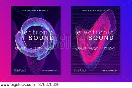 Trance Event. Dynamic Fluid Shape And Line. Futuristic Concert Invitation Set. Neon Trance Event Fly