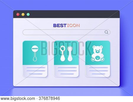 Set Baby Cutlery With Fork And Spoon, Rattle Baby Toy And Teddy Bear Plush Toy Icon. Vector