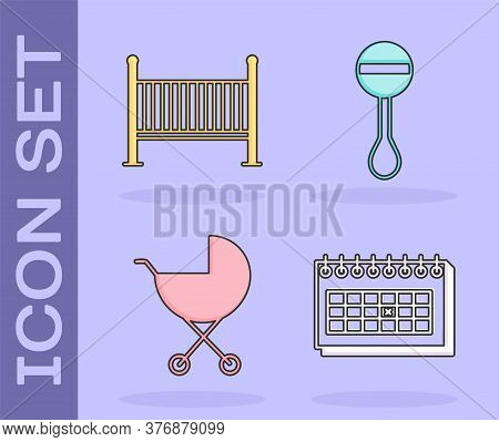 Set Calendar, Baby Crib Cradle Bed, Baby Stroller And Rattle Baby Toy Icon. Vector