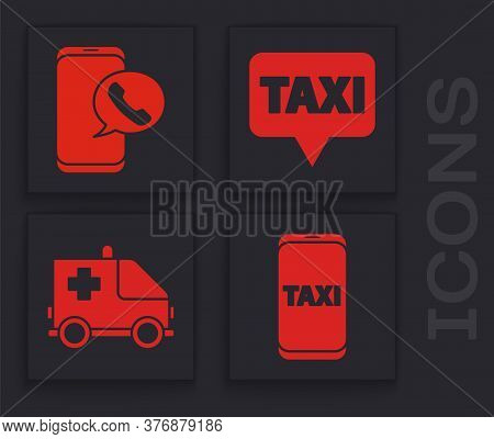 Set Taxi Call Telephone Service, Taxi Call Telephone Service, Map Pointer With Taxi And Ambulance An