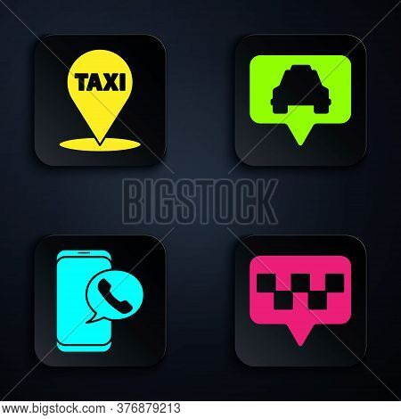 Set Map Pointer With Taxi, Map Pointer With Taxi, Taxi Call Telephone Service And Map Pointer With T
