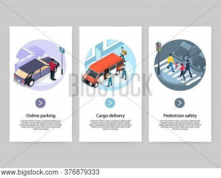 City Concept 3 Vertical Isometric Banners  With Online Parking Cargo Delivery Safe Pedestrian Zebra