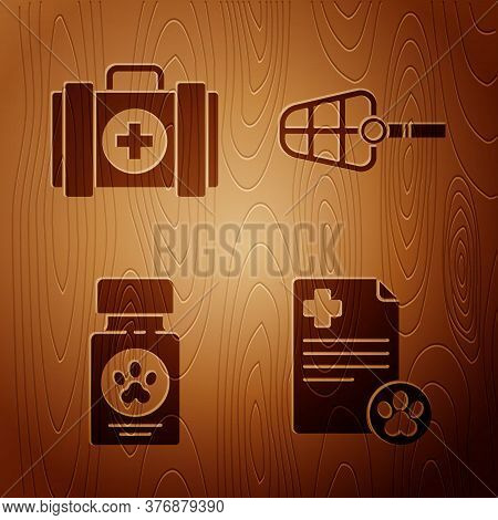 Set Clipboard With Medical Clinical Record Pet, Pet First Aid Kit, Dog Medicine Bottle And Pills And
