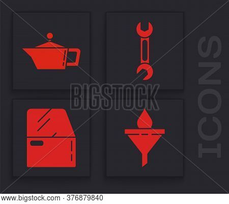 Set Funnel Or Filter And Motor Oil Drop, Canister For Motor Machine Oil, Wrench And Car Door Icon. V