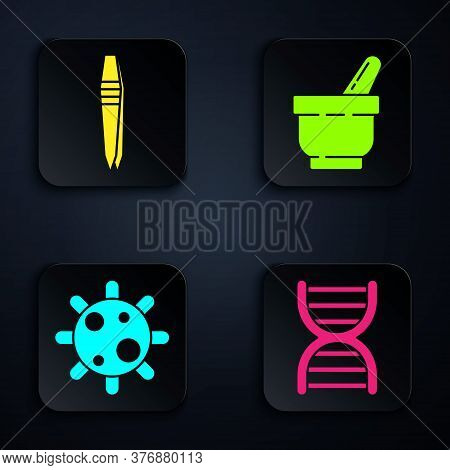 Set Dna Symbol, Tweezers, Bacteria And Mortar And Pestle. Black Square Button. Vector