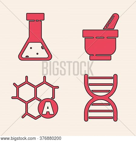 Set Dna Symbol, Test Tube And Flask Chemical, Mortar And Pestle And Chemical Formula Icon. Vector