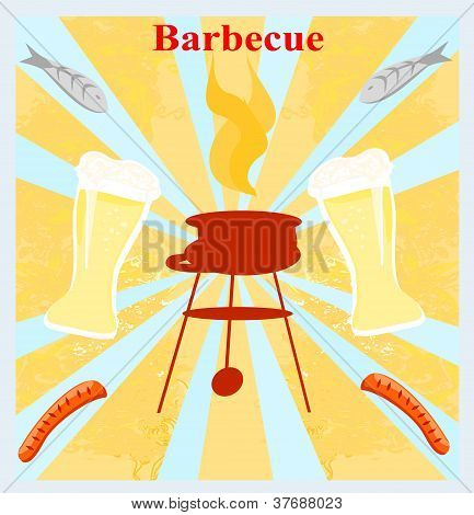 grunge abstract Barbecue Party Invitation , vector illustration poster