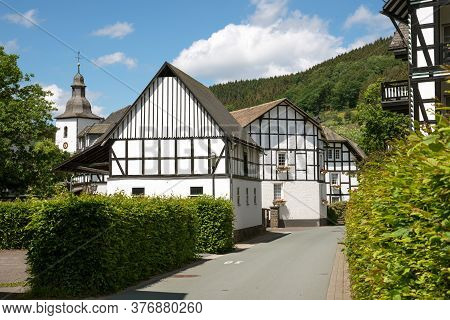 Image Of Old Half-timbered Houses Against Blue Sky In Summertime, Oberkirchen, Schmallenberg, Sauerl