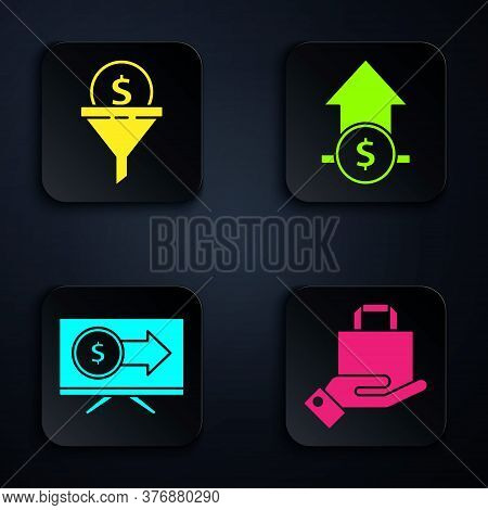 Set Hand And Paper Shopping Bag, Lead Management, Monitor With Dollar And Financial Growth And Coin.