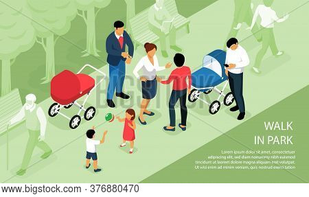 Children Playing Outdoor Walking In Park With Parents Babies Napping Outside In Prams Isometric Comp